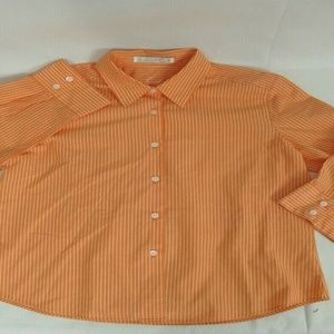 Foxcroft Top 8 Orange White Striped Blouse